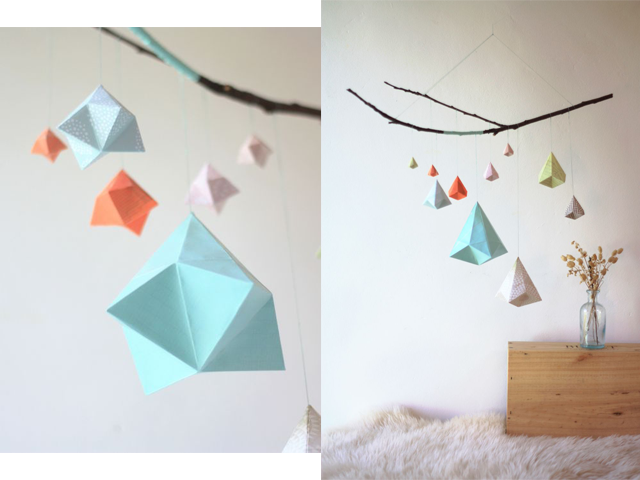 Charles Ray and Coco - Sophie Morille - mobile - origami - bleu-zoom