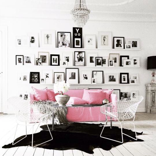 Charles Ray and Coco- mur de cadre pink
