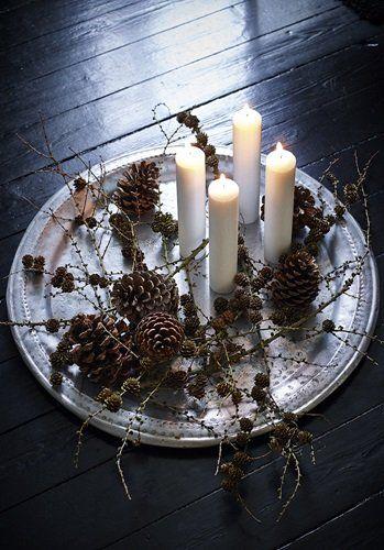 décoration de noel - centre de table bougies