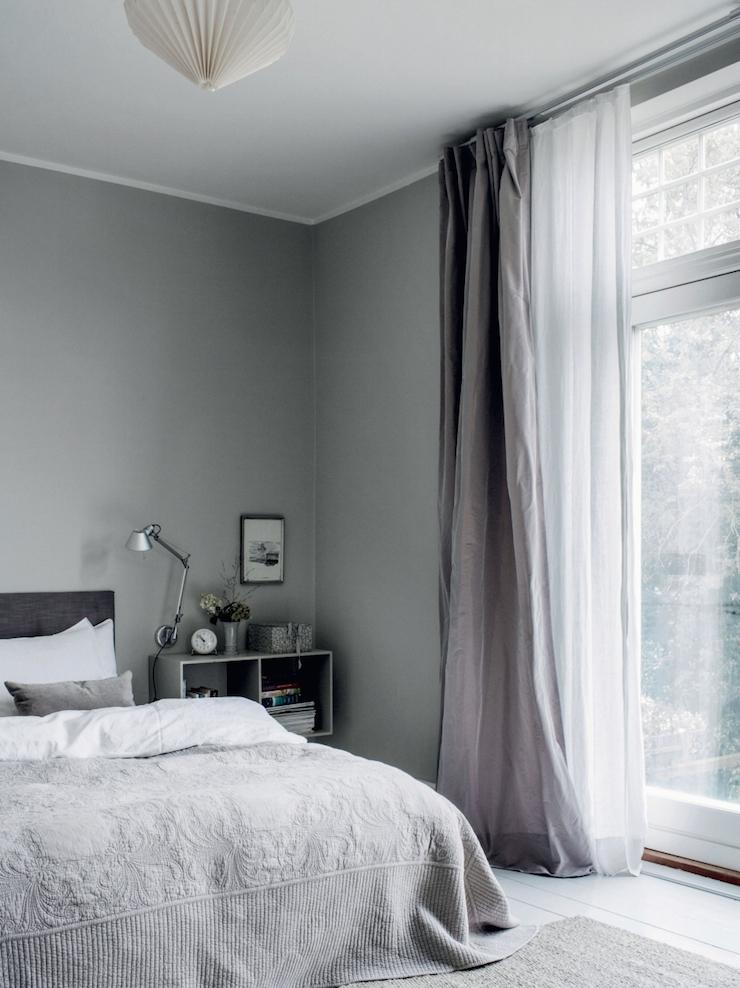Charles Ray and Coco - taffeta-curtains-grey-walls-photo-chris-tonnesen
