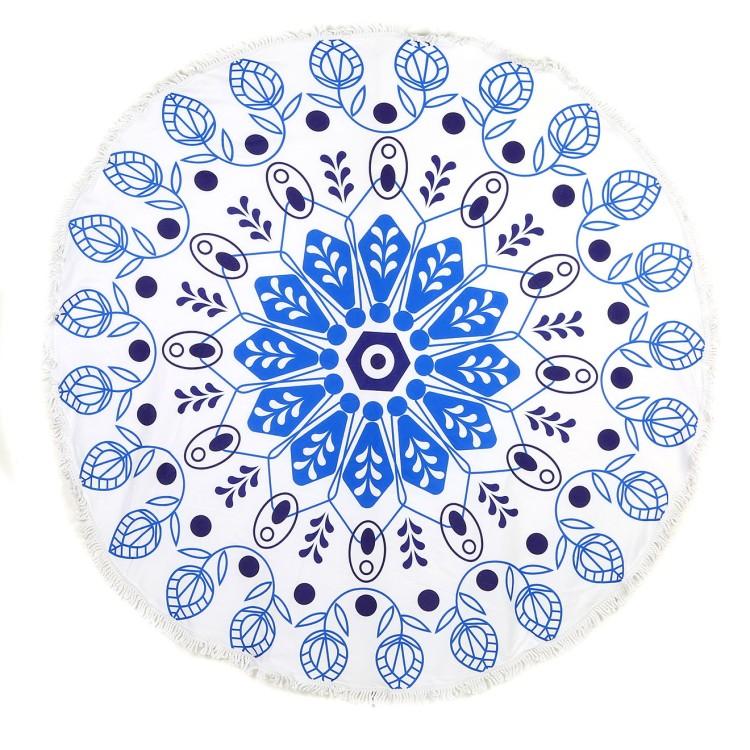 charles-ray-and-coco-blog-deco-et-design-actualite-de-la-decoration-et-du-design-bon-plan-shopping-bazarchic - serviette de plage ronde - modele inka bleu