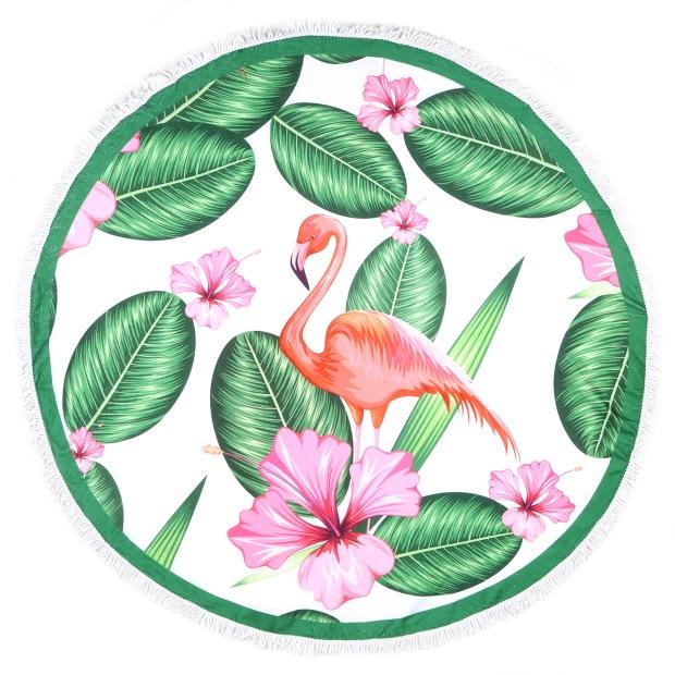 charles-ray-and-coco-blog-deco-et-design-actualite-de-la-decoration-et-du-design-bon-plan-shopping-bazarchic - serviette de plage ronde - modele inka flamingo