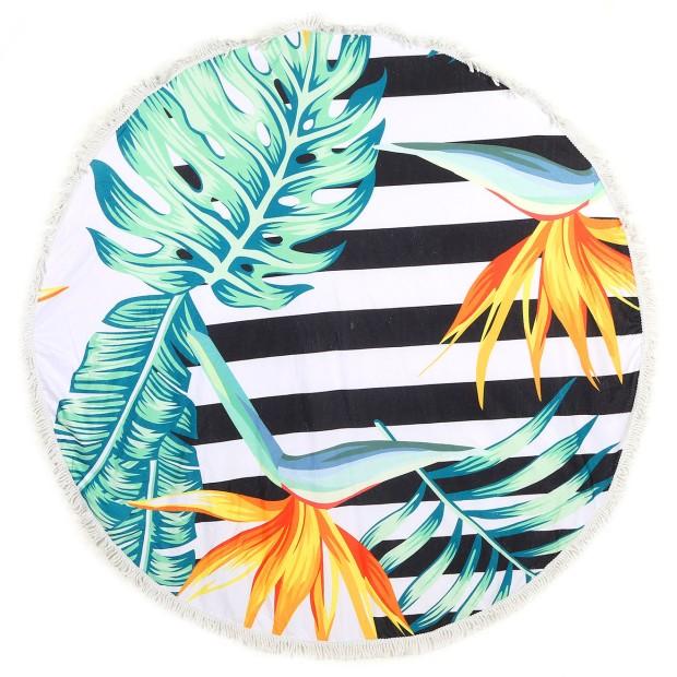 charles-ray-and-coco-blog-deco-et-design-actualite-de-la-decoration-et-du-design-bon-plan-shopping-bazarchic - serviette de plage ronde - modele inka oiseau de paradis